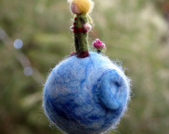 Christmas ornament Little boy prince on his planet Needle felted Waldorf inspired