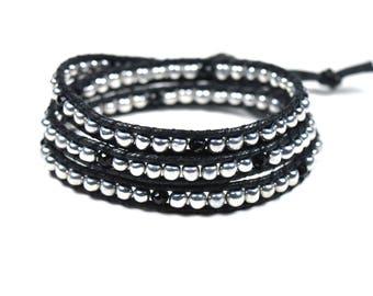 Silver Wrap Bracelet - beaded wrap bracelet, silver and black bracelet, boho wrap bracelet, boho bracelet, stacking bracelet