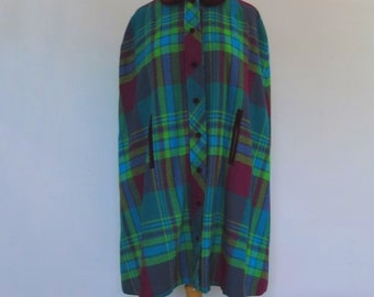 Vintage Cape - Plaid Wool Cape With Velvet Collar and Trim - Green and Moroon