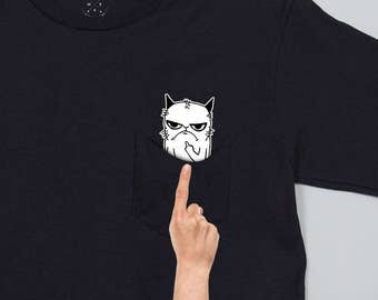 Grumpy Cat Flipping Finger In Pocket Showing Middle Finger Visible When You Pull Your Pocket Hidden Surprise Gift idea Birthday