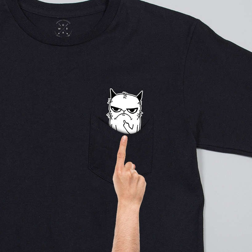 Image Result For Pocket Cat Shirt Middle Finger