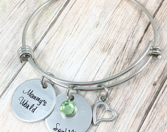 Mom Bangle Bracelet, Mommy's World, New Mom Jewelry, Hand Stamped, Personalized Mom Bracelet, Push Gift, Childrens Names, First Mother's Day