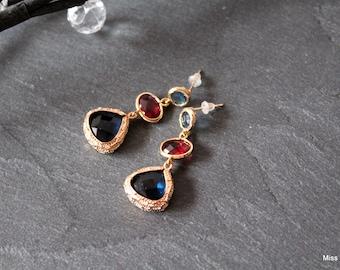 Earrings dangle blue glass gold spacer fushia
