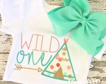 Wild one teepee applique 4x4 5x7 embroidery file - JEF file -thanksgiving shirt -birthday wigwam embroidery - wigwam - teepee applique