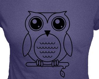 Womens Organic Shirt - Owl Shirt - Olivia the Owl T Shirt - 4 Colors Available - Organic Bamboo and Cotton Womens Shirt - Gift Friendly