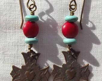 Bronze Sacred Heart Earrings Catholic Jewelry