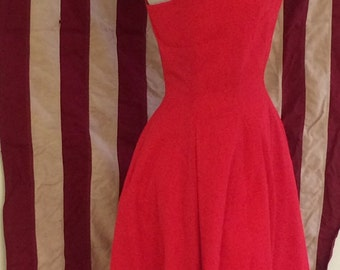 1950s 1960s Party Dress - Bombshell Rockabilly Pinup -Firey Red Party Dress - Bold - Retro Party - Spaghetti Straps - Summer Party - 36 Bust