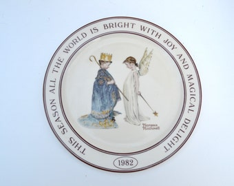 Norman Rockwell Collectible Plate 1982, Holiday, Angel, Made in Portugal,