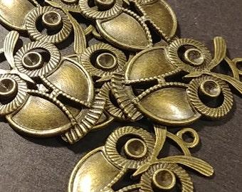 Antiqued Bronze Owl Pendant