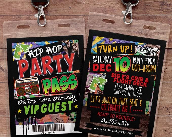 Hip Hop, Swagger, VIP PASS, backstage pass, Vip invitation, birthday invitation, Digital Files, Graffiti, birthday, DJ, 90's party
