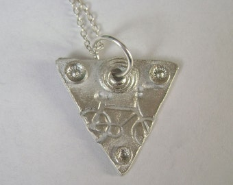 little triangle artisan pendant with bicycle,  sterling