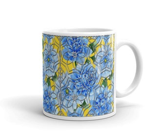 Coffee tea mug stained glass watercolor blue Dahlia flowers silver metallic Mandala Color Moi Mandalas® design