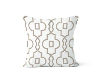 Beige Tan Scrollwork Pillow Cover Lattice - Bordeaux Ecru - Lumbar 12 14 16 18 20 22 24 26 Euro - Hidden Zipper Closure