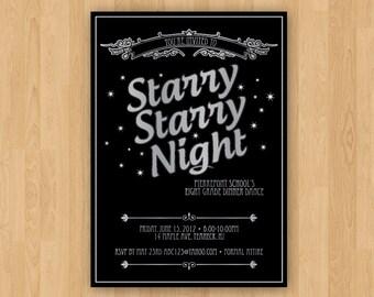 Black & Silver Custom Printable Starry Night Invitation