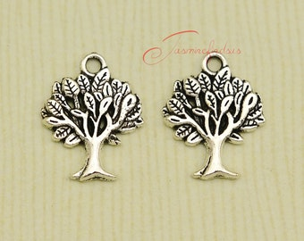 25PCS--21x17mm Tree charms, Antique Tibetan Silver Detail Lucky tree charm Pendants, DIY Findings, Jewelry Making JAS0090D