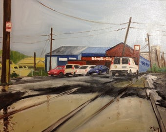 Original Painting.  OOAK.  Salmon Bay Cafe In The Rain