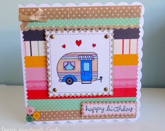 Handmade Caravan Card -For Her - Birthday,Thank You, Congratulations - Personalised!