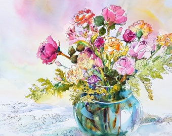 "FLORAL WATERCOLOR - 22"" x 30"" - An Original Painting by Linda Henry entitled: ""Blushing Beauties"" (#FS001)"