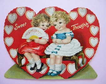 Vintage Valentine's Day Card Two Little Girls Germany