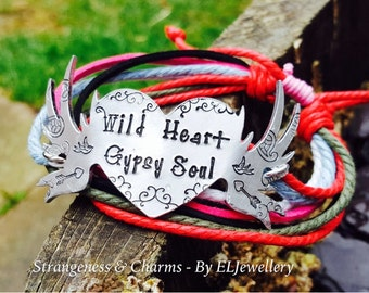 Hand Stamped 'Wild Heart, Gypsy Soul' Mixed Cord Bracelet, Gypsy Jewellery,Adjustable Cord Bracelet,Tattoo Jewellery, Stamped Metal Jewelry.