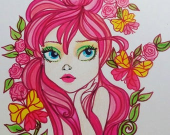 Little Diva Paulina Fantasy Art Pop Portrait Big Eye Art Print from Leslie Mehl Art