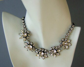 Chunky D & E Juliana Rhinestone Necklace - Vintage 50s Regal Elegant Ice
