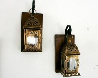 Two bronze Morrocan lantern Sconces Rustic Hanging Lanterns Lantern pair Wall decor Wall sconce Reclaimed Pallet Wrought iron hook