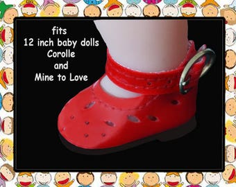 Vintage 1-5/8 inch x 1 inch Vintage Red Mary Jane Shoes for 12 inch baby doll, Mine to Love 12, Corolle Calin 12 inch