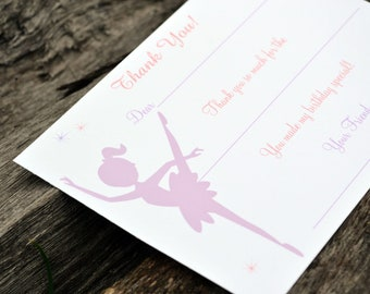 Kids Thank You Notes Fill In The Blank Pretty Ballerina Design