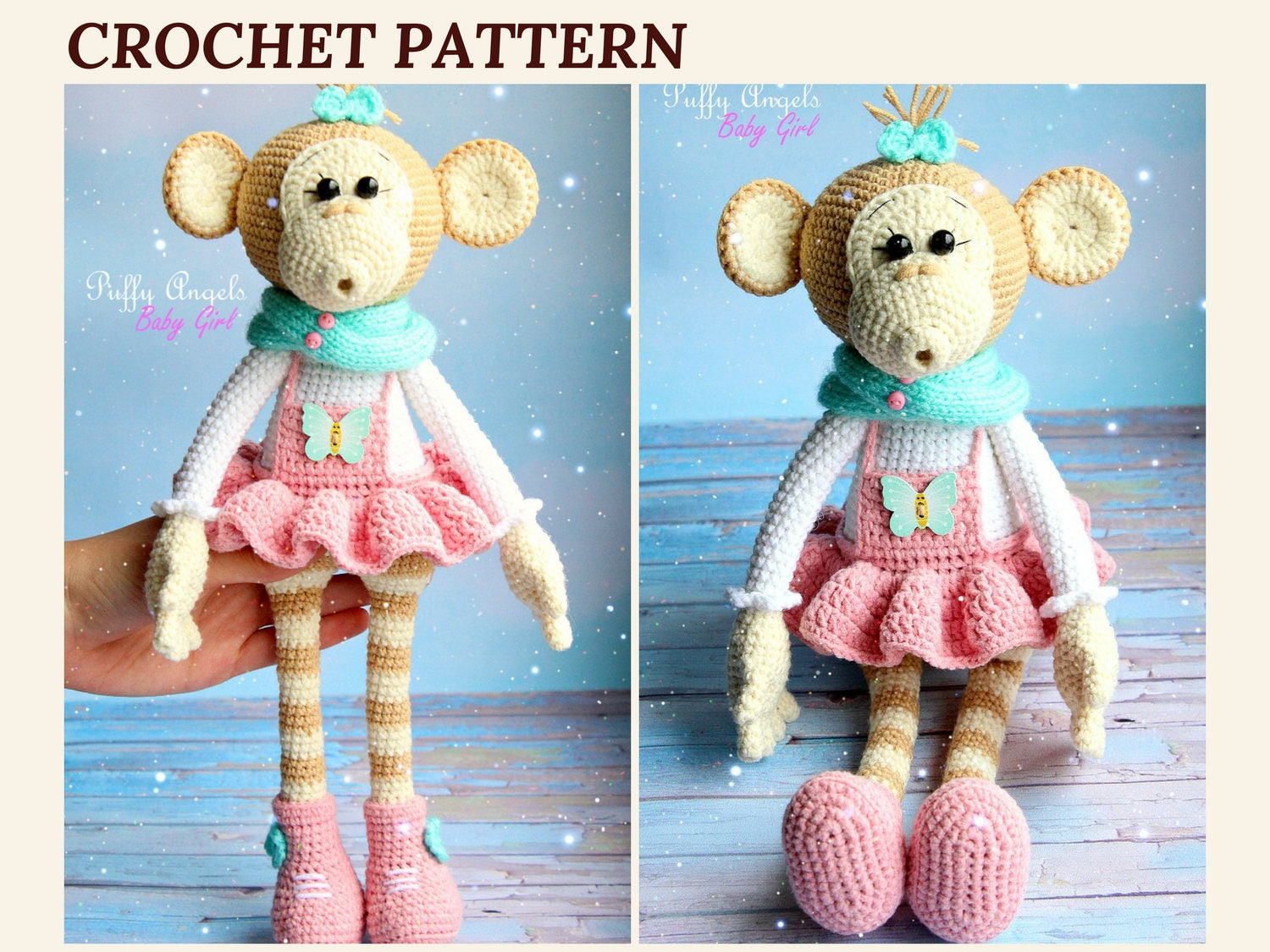Pattern Monkey Bonnie Crochet Toys Amigurumi Monkey Animal Crochet ...