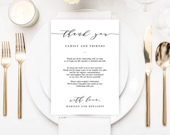 Personalized Wedding Welcome Card or Thank You Letter - Printable, Editable PDF Template, Instant Download #ESC