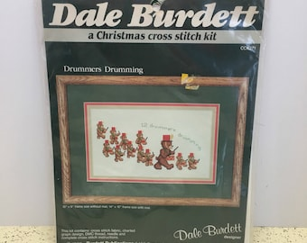 """CROSS STITCH KIT - """"Drummers Drumming"""" #CCK271  by Dale Burdett Christmas, Holiday, Bears"""