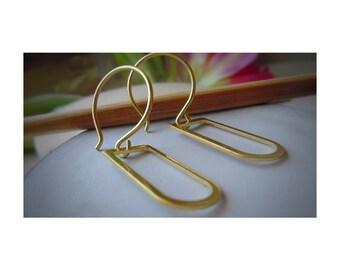 Raw Brass Earrings   Ethnic   Art Deco Earwire   Hoop