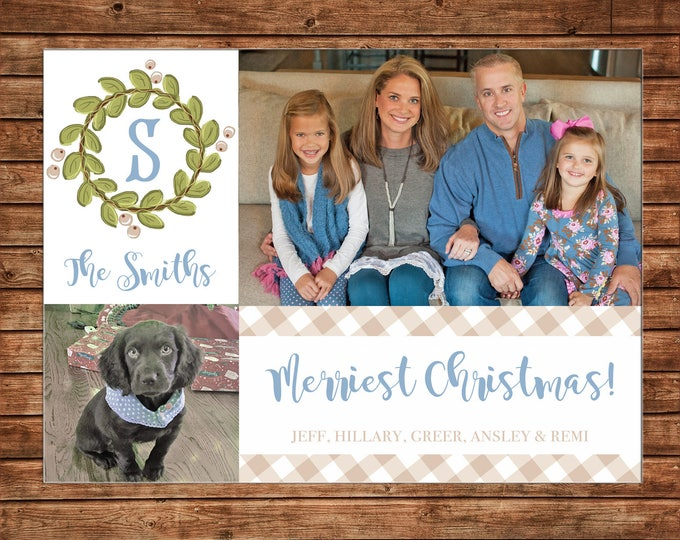 Christmas Holiday Photo Card Gingham Wreath Monogram  - Can Personalize - Printable File or Printed Cards