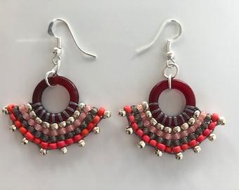 Beaded fan earrings with silver plated earwire