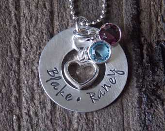 Personalized Hand Stamped Jewelry-Mother's Necklace-Personalized Hand Stamped Mother's Necklace with heart charm and birthstone crystal