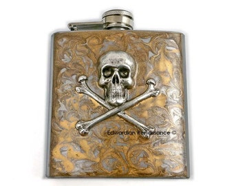 Skull and Crossbones Flask Inlaid in Hand Painted Gold Swirl Design Steampunk Inspired with Custom Colors and Personalized Options