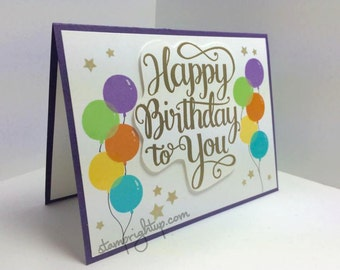 Customize Happy Birthday Bunch of Balloons Gold Embossed Greeting Card