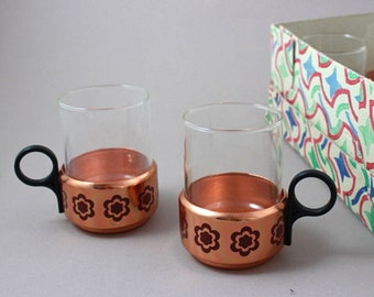 Vintage copper and glass tea cups, 6 pieces, unused