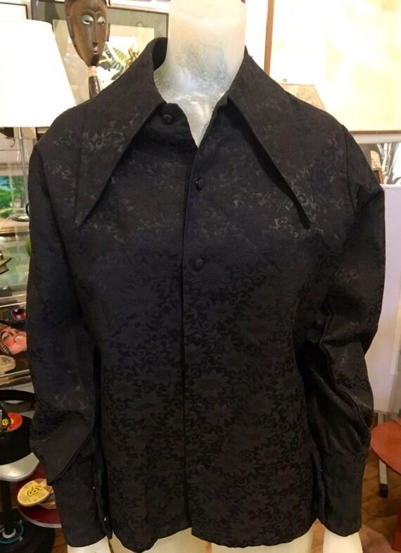 Vintage 1960s Men's Extra Long Collar Black Brocade Shirt by Something Else Size Medium