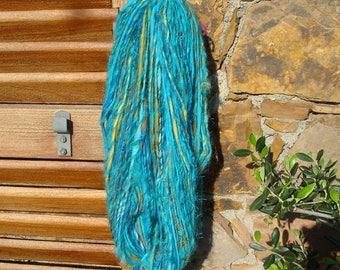 Hand spun Art Yarn, Artsy Handspun Yarn in Turquoise colors, handmade textured Yarn, 115g - 90m - 98 ydrs