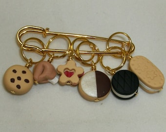 Stitch Markers BOX of COOKIES  for Knit or Crochet set of 6 Baby linzer cameo fortune