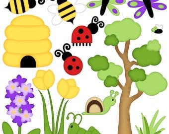 Bug Digital Clipart - Set of 14 - Honey Bee, Ladybug, Grasshopper, Dragonfly, Tree  - Instant Download - Item#8235