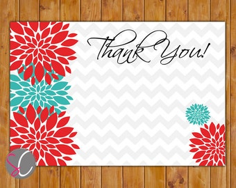 """Red Teal Floral Burst Chevron Birthday Thank You Flat Card 4""""x6"""" Digital Instant Download (168-ty)"""