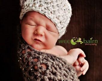 Hanging Infant Newborn Stork Sack and Knot Hat