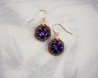 SAPPHIRE BLUE EARRINGS / bridesmaid gift jewelry / blue dangle earrings / wishpiece