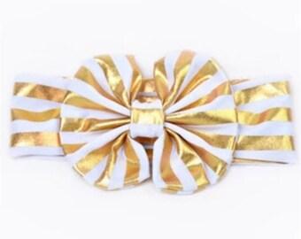 Top Knot baby girl headband gold white newborn headband infant headbands baby headwrap headband turban headband big bow