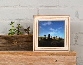 5.5x5.5 Square Picture Frame in Double Cove Style with Super Vintage White Finish - IN STOCK - Same Day Shipping - 5.5 x 5.5 Photo Frame