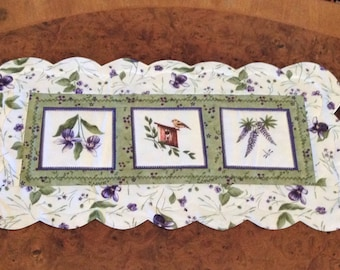 Table Runner, Table Topper, Centerpiece, Coffee Table Topper, Lady Slipper, Lupine, Birdhouse, Scalloped Edges, Reversible