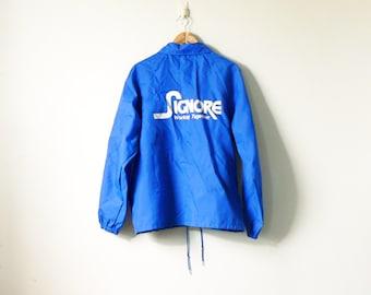 "80s ""Signore"" Blue Vintage Windbreaker - 80s Windbreaker - 80s Logo Jacket - 80s Jacket - 80s Clothing - Blue WIndbreaker - Men's L"